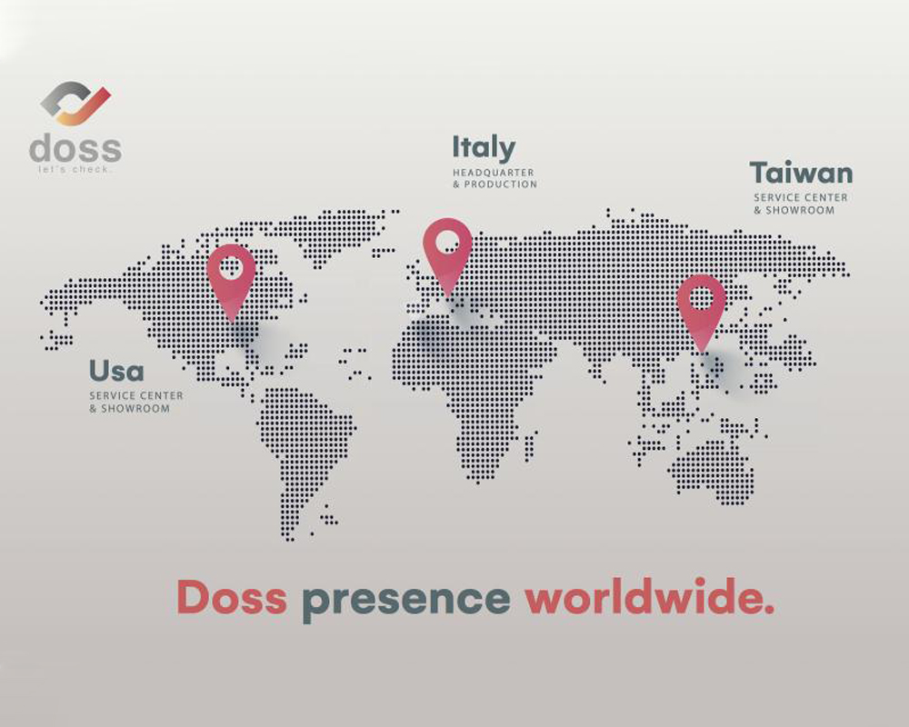 Doss USA Worldwide offices map representation with dots